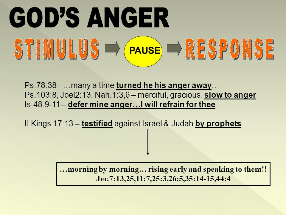Ps.78:38 - …many a time turned he his anger away… Ps.103:8, Joel2:13, Nah.1:3,6 – merciful, gracious, slow to anger Is.48:9-11 – defer mine anger…I will refrain for thee II Kings 17:13 – testified against Israel & Judah by prophets …morning by morning… rising early and speaking to them!.