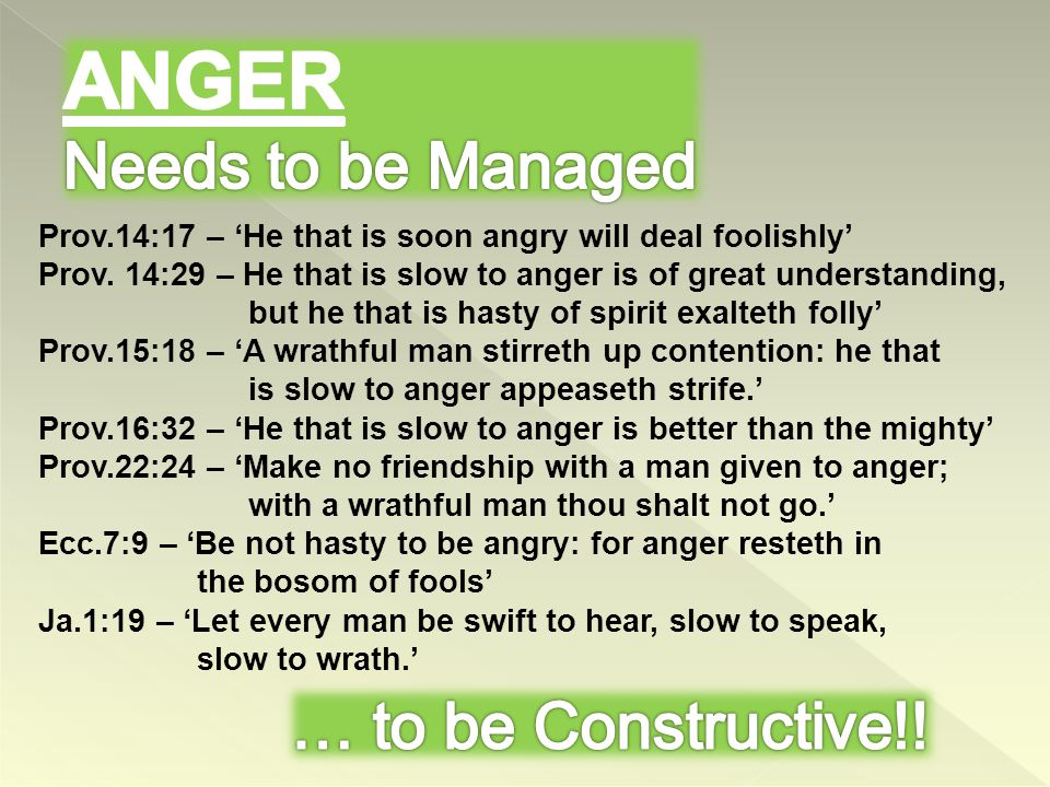 To Be Feared Ps.6:1 – rebuke me not in thine anger Ps.27:9 – put not servant away in anger Ps.90:7-12 – who knoweth power of thine anger …..therefore teach us to number our days Has Purpose Jer.23:20, 30:24, Ezek.5:13 …till he have performed the thoughts of his heart perfectly… How God's Anger Works Is.10:5 – Assyrian = rod of his anger Is.13:3 – my mighty ones (nations) Hos.13:11 – sometimes gives us what we want Refining Process – Purified Product Ezek.22:20-22 - …I will gather you in mine anger…into the midst of the furnace…and blow upon it…and melt you..