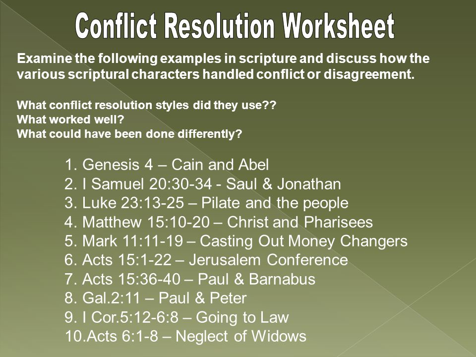 Examine the following examples in scripture and discuss how the various scriptural characters handled conflict or disagreement.