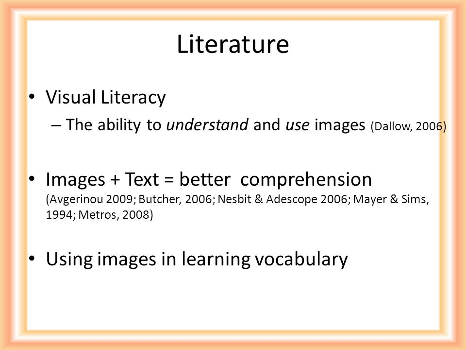 Research Question Will viewing images related to vocabulary improve student performance on quiz?