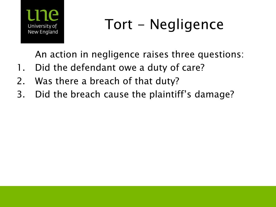 Tort - Negligence An action in negligence raises three questions: 1.Did the defendant owe a duty of care? 2.Was there a breach of that duty? 3.Did the