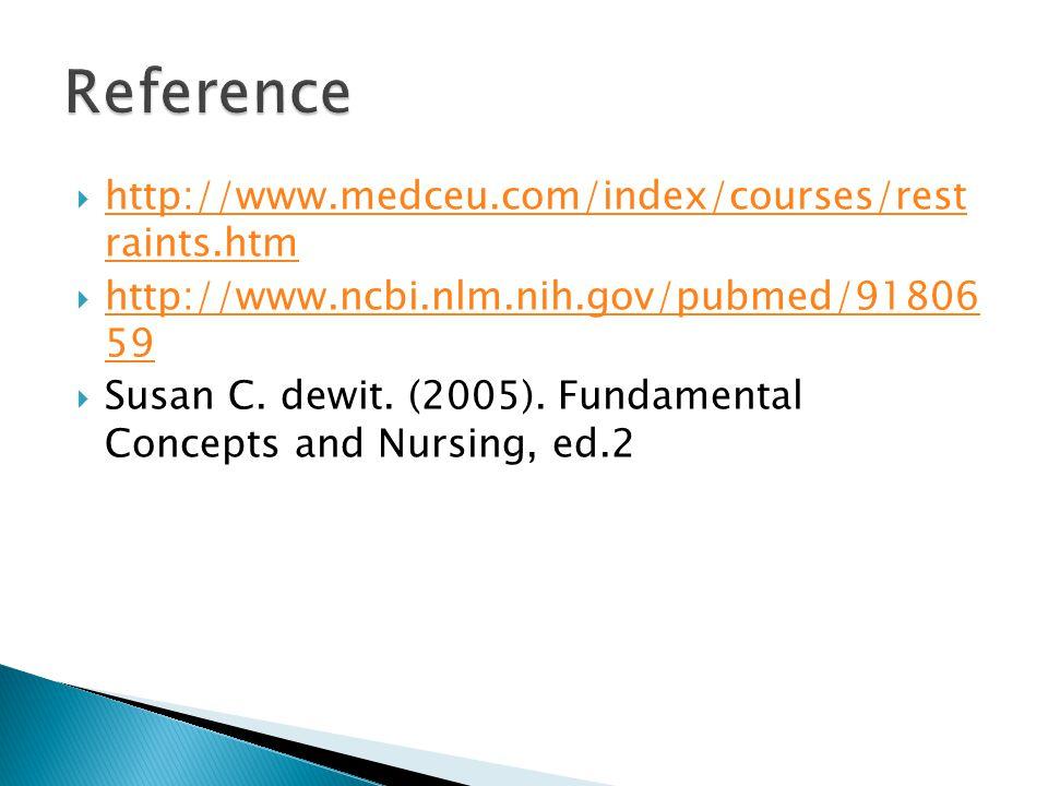  http://www.medceu.com/index/courses/rest raints.htm http://www.medceu.com/index/courses/rest raints.htm  http://www.ncbi.nlm.nih.gov/pubmed/91806 59 http://www.ncbi.nlm.nih.gov/pubmed/91806 59  Susan C.