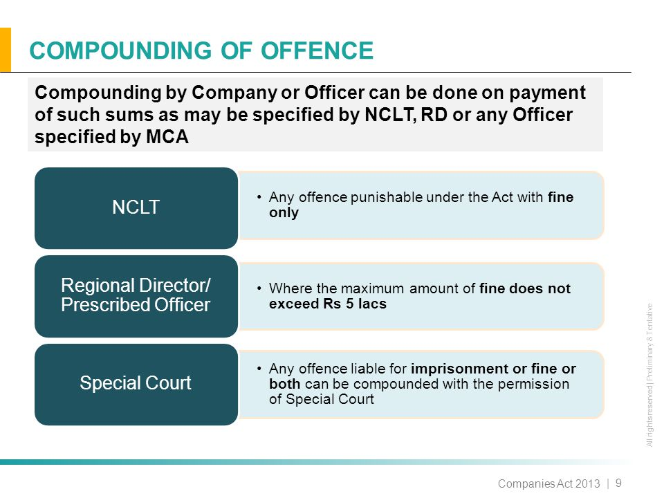 All rights reserved All rights reserved | Preliminary & Tentative COMPOUNDING OF OFFENCE | 9 Companies Act 2013 Compounding by Company or Officer can be done on payment of such sums as may be specified by NCLT, RD or any Officer specified by MCA