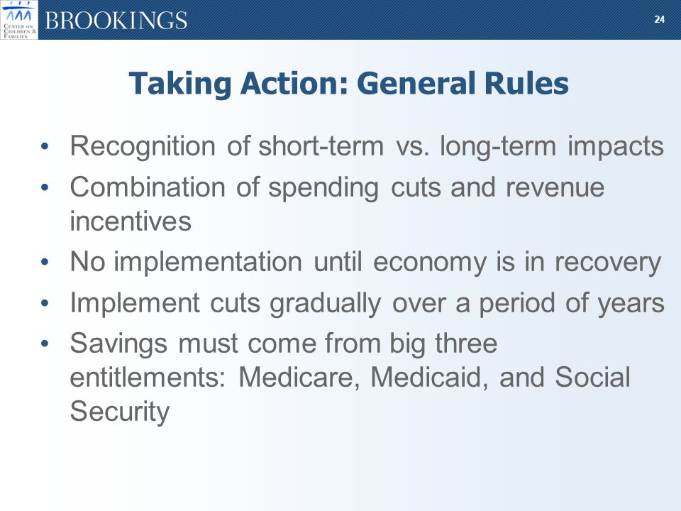 24 Taking Action: General Rules Recognition of short-term vs.