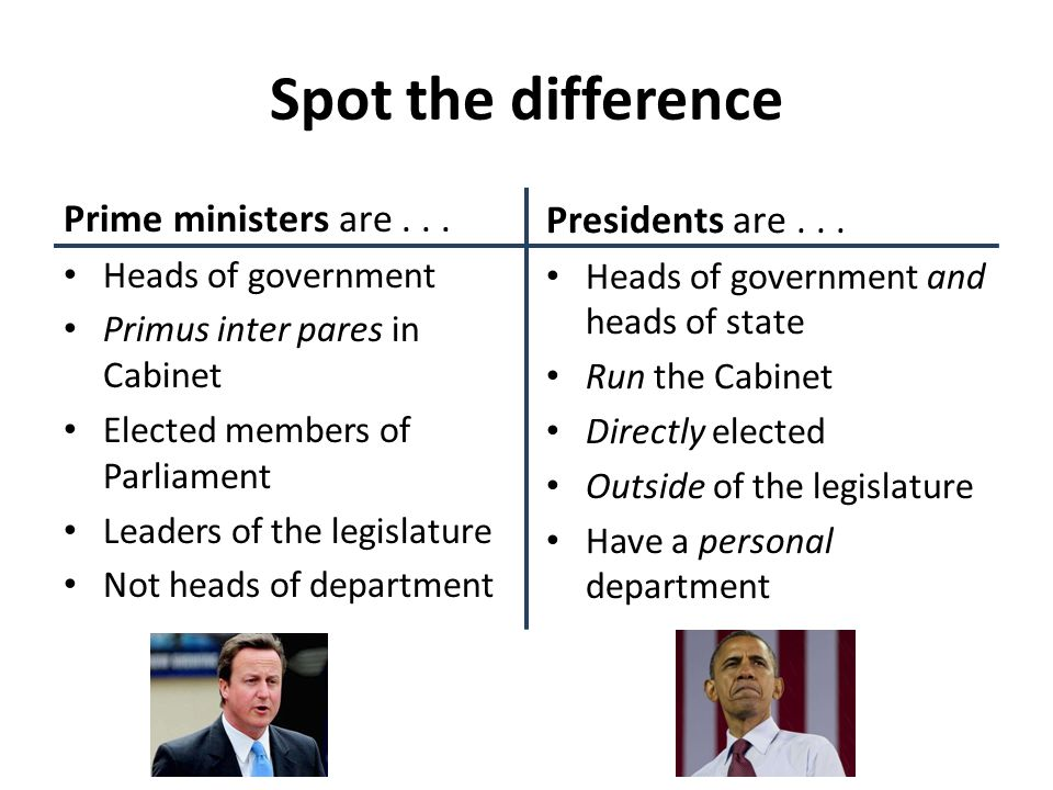 Spot the difference Prime ministers are... Heads of government Primus inter pares in Cabinet Elected members of Parliament Leaders of the legislature