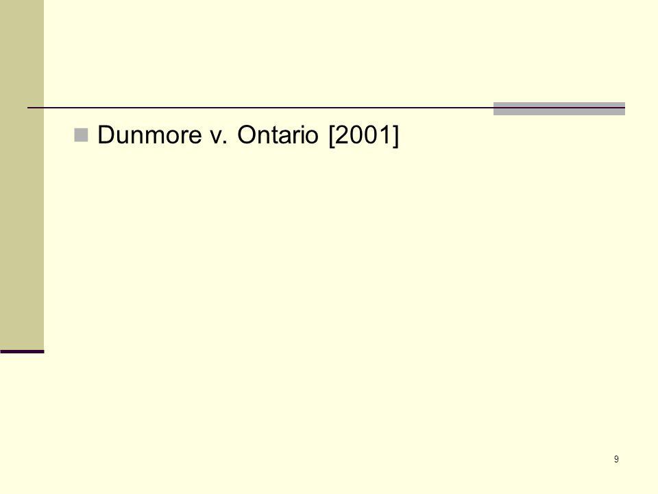 9 Dunmore v. Ontario [2001]