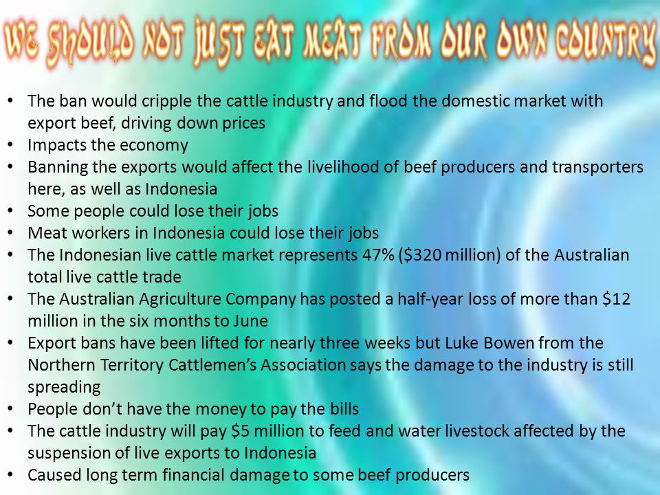 The ban would cripple the cattle industry and flood the domestic market with export beef, driving down prices Impacts the economy Banning the exports would affect the livelihood of beef producers and transporters here, as well as Indonesia Some people could lose their jobs Meat workers in Indonesia could lose their jobs The Indonesian live cattle market represents 47% ($320 million) of the Australian total live cattle trade The Australian Agriculture Company has posted a half-year loss of more than $12 million in the six months to June Export bans have been lifted for nearly three weeks but Luke Bowen from the Northern Territory Cattlemen's Association says the damage to the industry is still spreading People don't have the money to pay the bills The cattle industry will pay $5 million to feed and water livestock affected by the suspension of live exports to Indonesia Caused long term financial damage to some beef producers