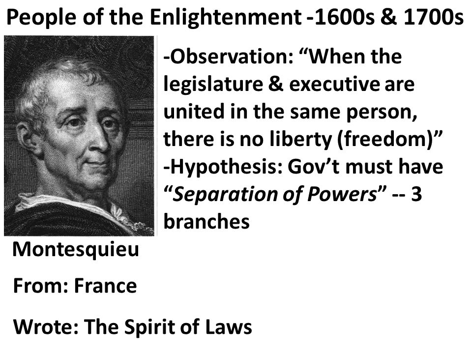 Hobbes -Observation: Life without gov't is solitary, poor, nasty, brutish, & short. -Hypothesis: Absolute gov't needed to control evil behavior (but not divine right) People of the Enlightenment -1600s & 1700s From: England Wrote: Leviathan
