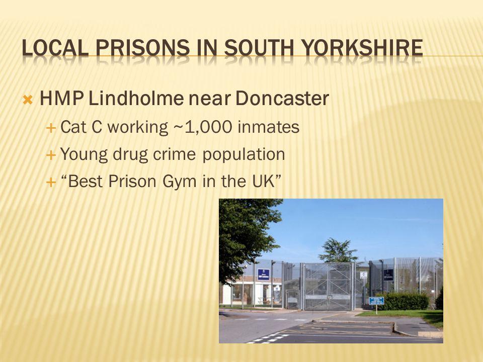 " HMP Lindholme near Doncaster  Cat C working ~1,000 inmates  Young drug crime population  ""Best Prison Gym in the UK"""