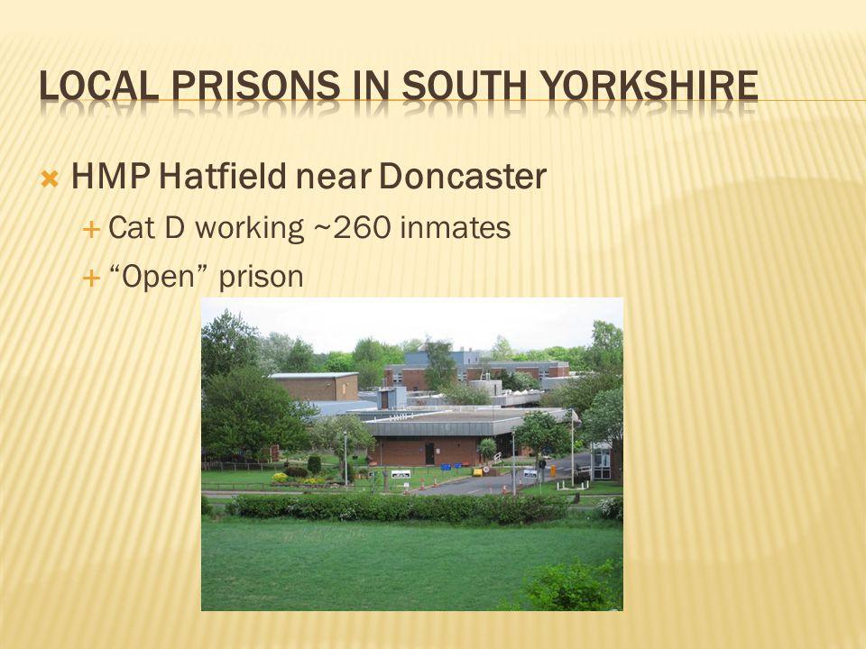 " HMP Hatfield near Doncaster  Cat D working ~260 inmates  ""Open"" prison"