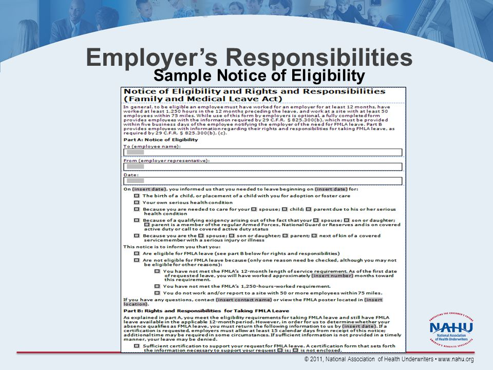 © 2011, National Association of Health Underwriters www.nahu.org Employer's Responsibilities Sample Notice of Eligibility