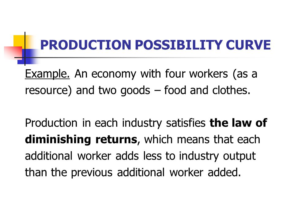 PRODUCTION POSSIBILITY CURVE Example. An economy with four workers (as a resource) and two goods – food and clothes. Production in each industry satis