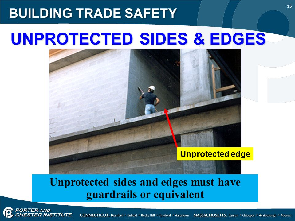 15 BUILDING TRADE SAFETY UNPROTECTED SIDES & EDGES Unprotected sides and edges must have guardrails or equivalent Unprotected edge
