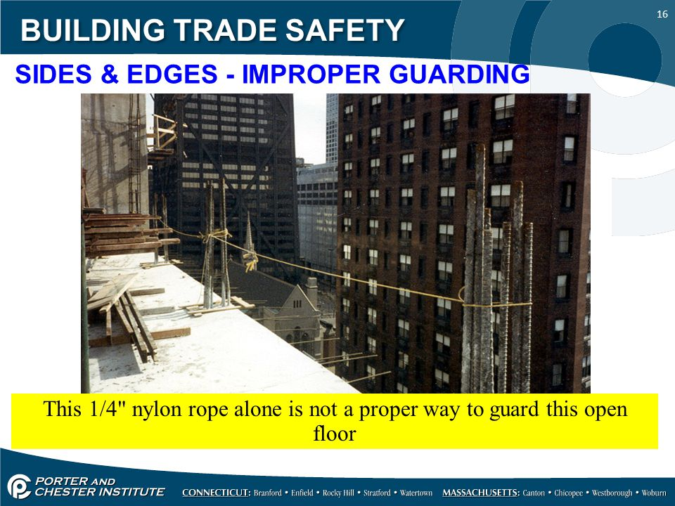 16 BUILDING TRADE SAFETY SIDES & EDGES - IMPROPER GUARDING This 1/4