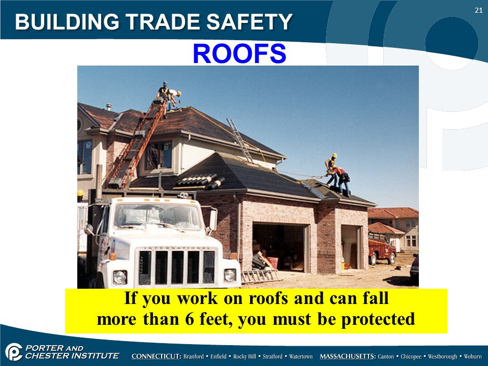 21 BUILDING TRADE SAFETY ROOFS If you work on roofs and can fall more than 6 feet, you must be protected