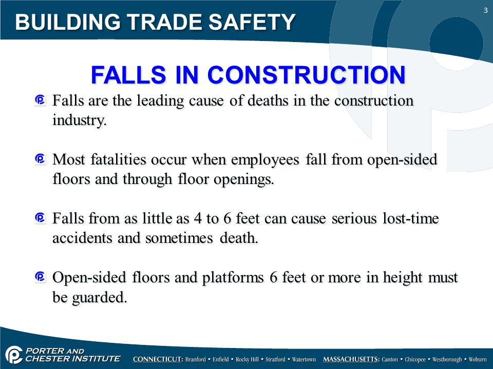 3 BUILDING TRADE SAFETY FALLS IN CONSTRUCTION Falls are the leading cause of deaths in the construction industry. Most fatalities occur when employees
