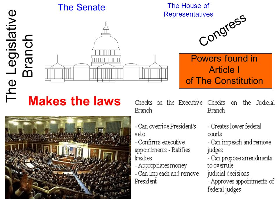 The Legislative Branch The Senate The House of Representatives Makes the laws Congress Powers found in Article I of The Constitution