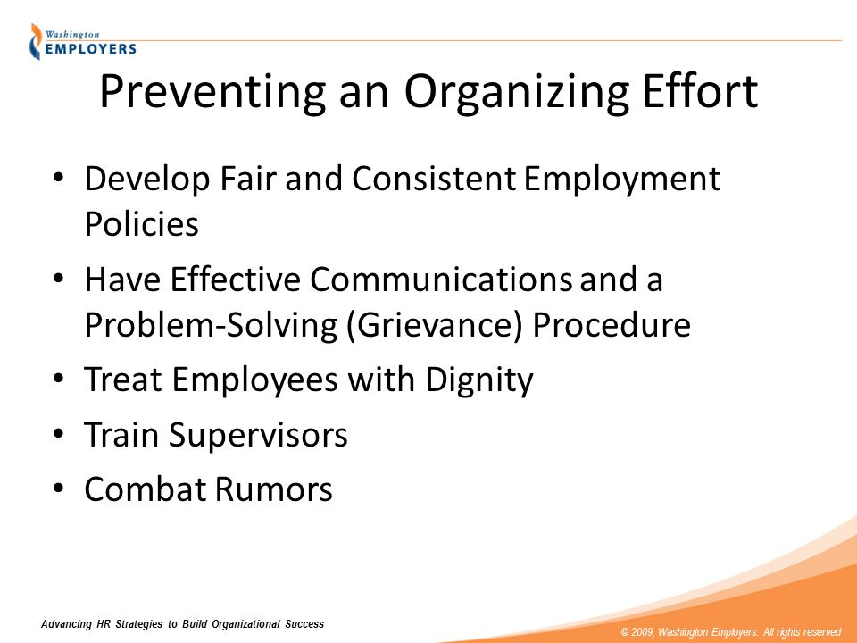 Advancing HR Strategies to Build Organizational Success © 2009, Washington Employers.