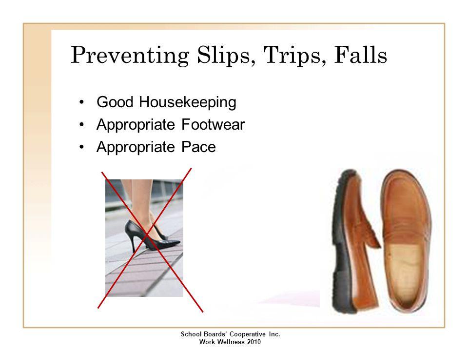 Preventing Slips, Trips, Falls Good Housekeeping Appropriate Footwear Appropriate Pace School Boards' Cooperative Inc. Work Wellness 2010