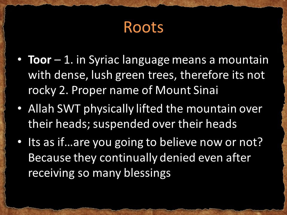 Roots Toor – 1. in Syriac language means a mountain with dense, lush green trees, therefore its not rocky 2. Proper name of Mount Sinai Allah SWT phys