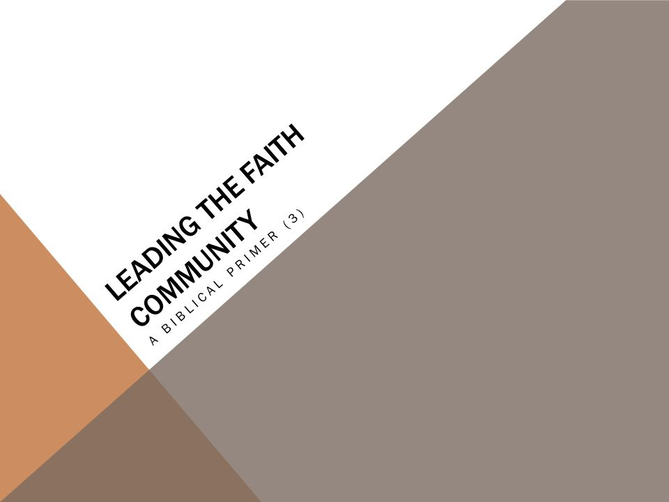 LEADING THE FAITH COMMUNITY A BIBLICAL PRIMER (3)