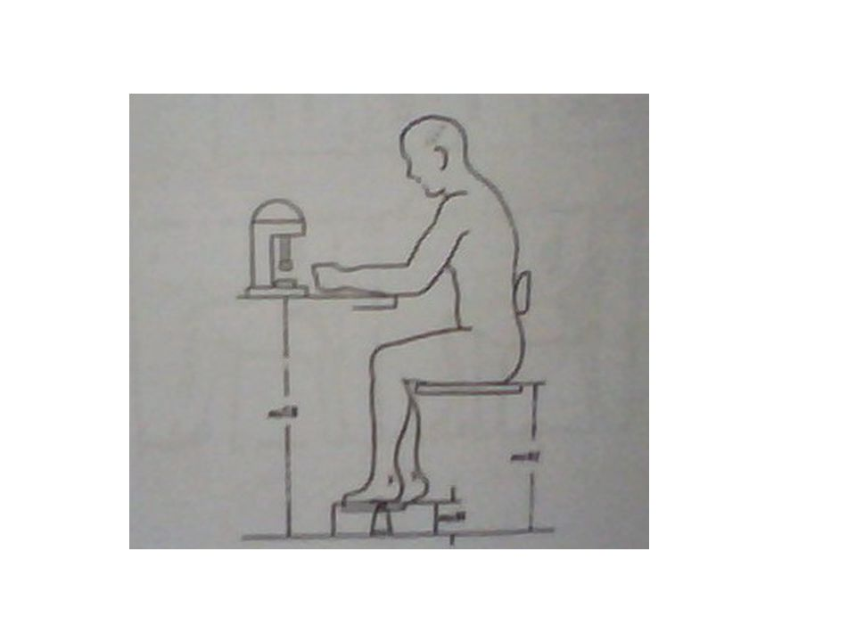 The seat height: is adjusted correctly when the thighs of the sitter are horizontal, the lower legs are vertical and feet are flat on the floor. If th