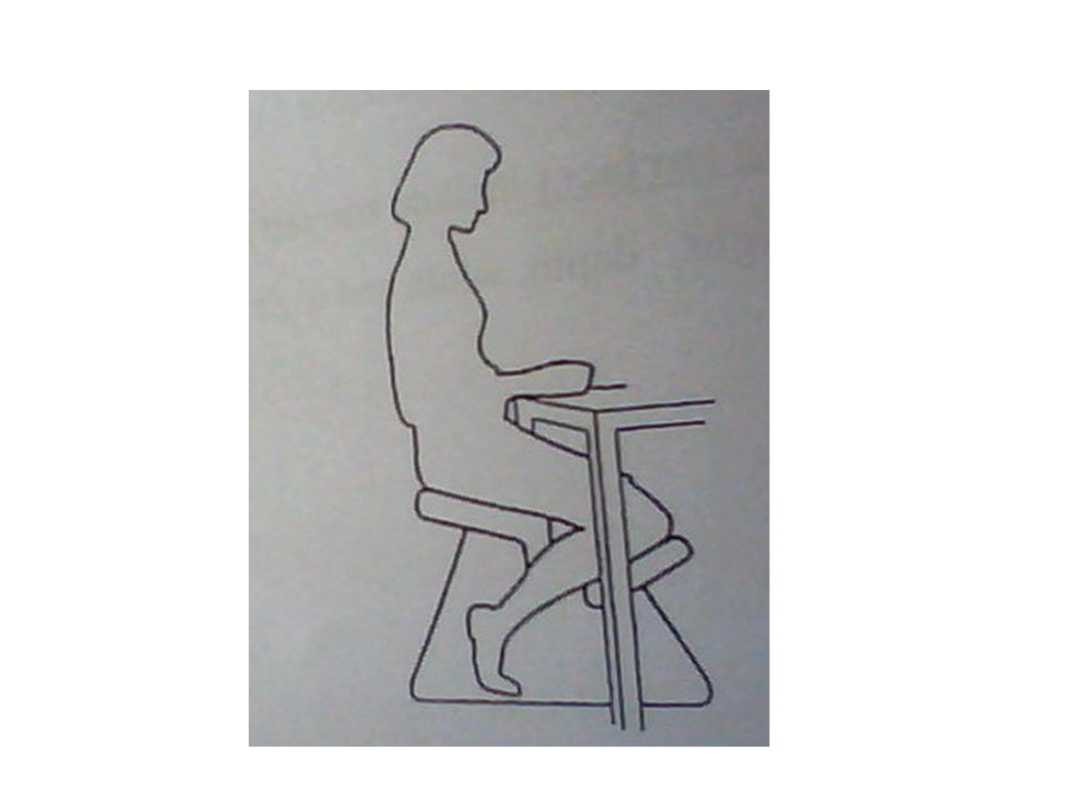 The easy chair : is inclined backward to relax the back the work chair : is inclined forward because the sitter wishes to reach the area in front for work A forward inclined chair called Balans chair which has 20 degrees forward inclination with knee support but can't used for long time