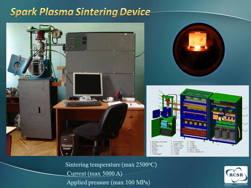 Sintering temperature (max 2500 o C) Current (max 5000 A) Applied pressure (max 100 MPa)