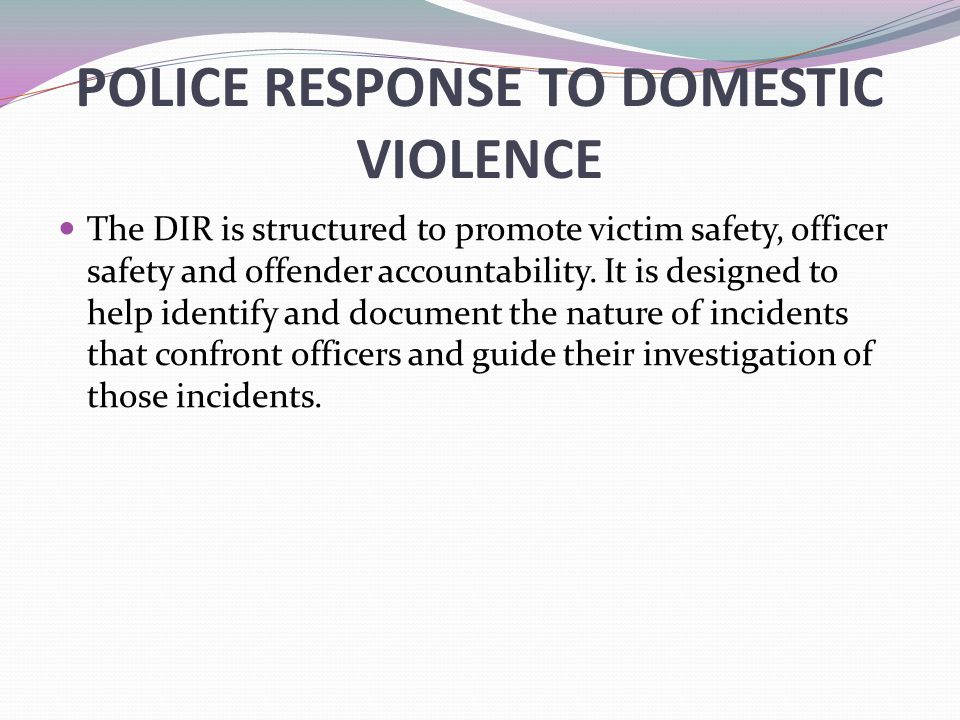POLICE RESPONSE TO DOMESTIC VIOLENCE The DIR is structured to promote victim safety, officer safety and offender accountability. It is designed to hel