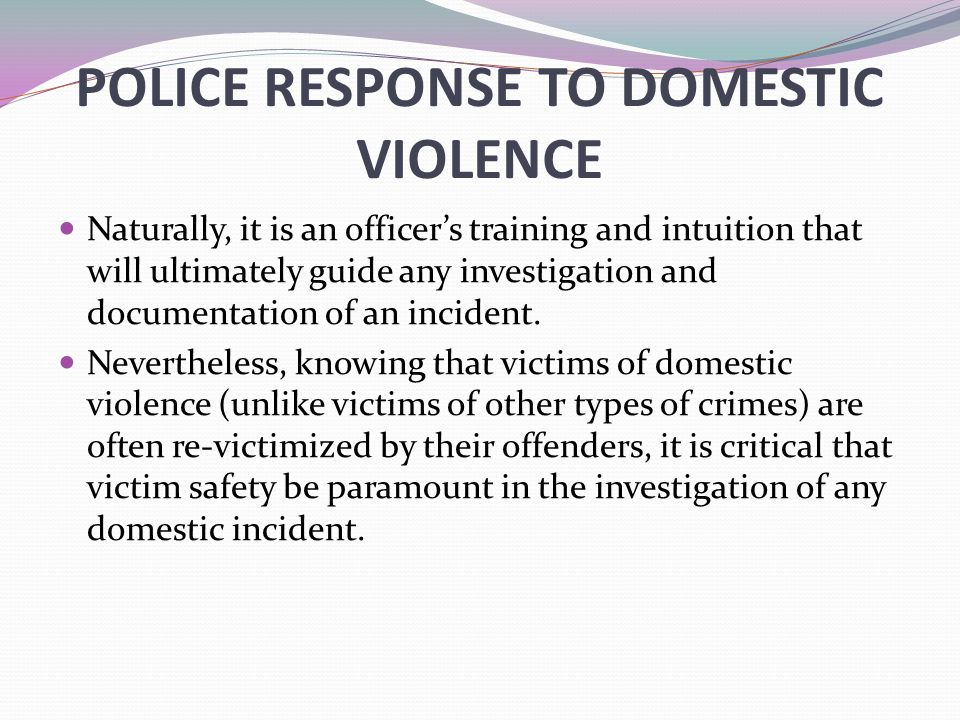 POLICE RESPONSE TO DOMESTIC VIOLENCE Naturally, it is an officer's training and intuition that will ultimately guide any investigation and documentation of an incident.