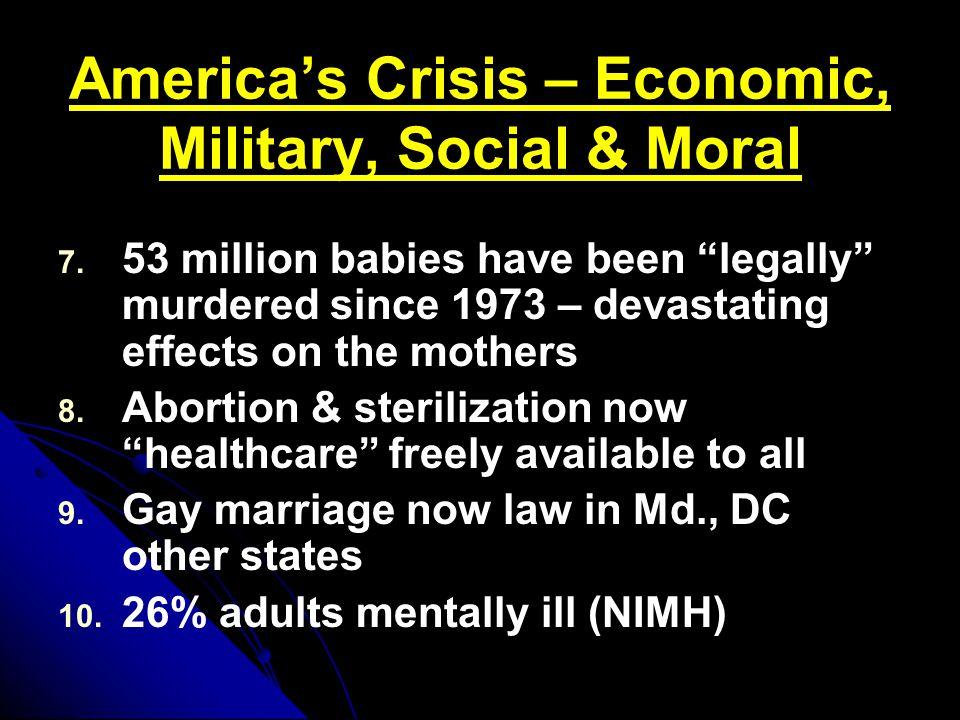 America's Crisis – Economic, Military, Social & Moral 7.