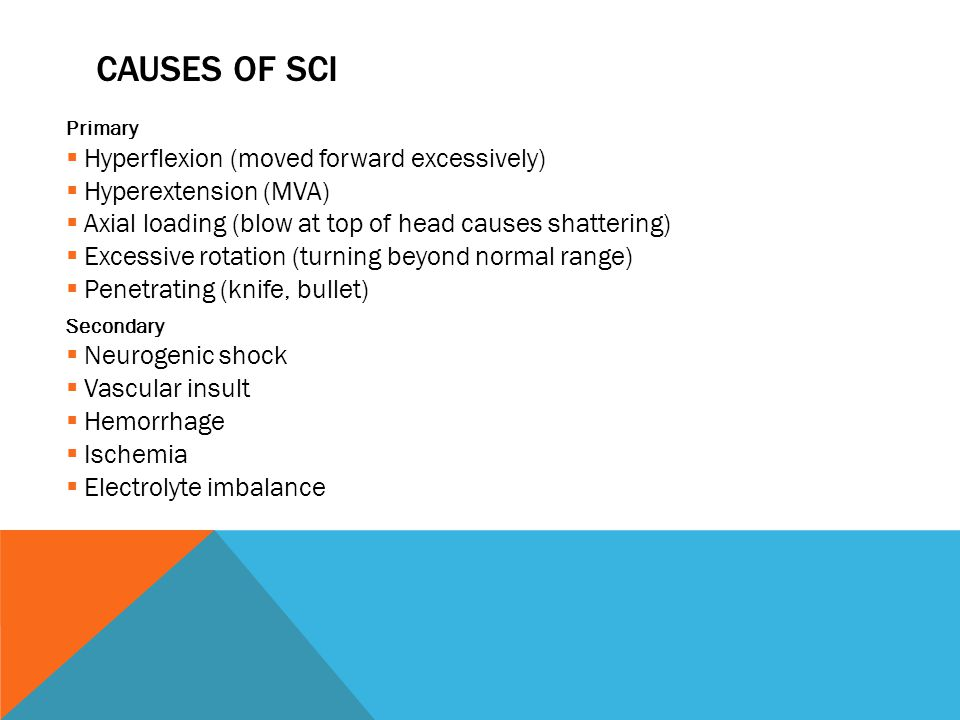 CAUSES OF SCI Primary  Hyperflexion (moved forward excessively)  Hyperextension (MVA)  Axial loading (blow at top of head causes shattering)  Excessive rotation (turning beyond normal range)  Penetrating (knife, bullet) Secondary  Neurogenic shock  Vascular insult  Hemorrhage  Ischemia  Electrolyte imbalance