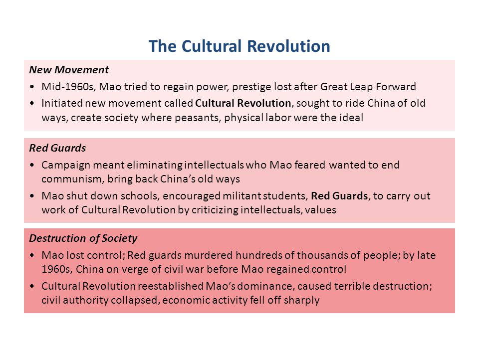 New Movement Mid-1960s, Mao tried to regain power, prestige lost after Great Leap Forward Initiated new movement called Cultural Revolution, sought to