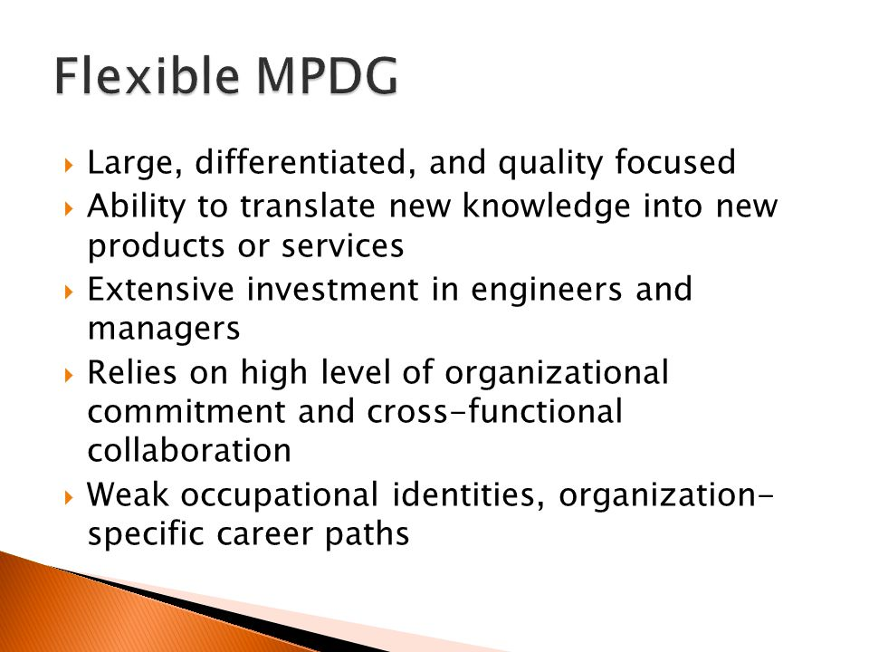  Large, differentiated, and quality focused  Ability to translate new knowledge into new products or services  Extensive investment in engineers and managers  Relies on high level of organizational commitment and cross-functional collaboration  Weak occupational identities, organization- specific career paths