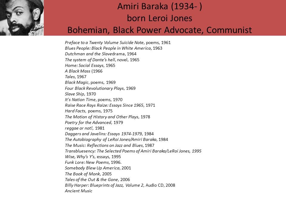 Amiri Baraka (1934- ) born Leroi Jones Bohemian, Black Power Advocate, Communist Preface to a Twenty Volume Suicide Note, poems, 1961 Blues People: Black People in White America, 1963 Dutchman and the Slavedrama, 1964 The system of Dante's hell, novel, 1965 Home: Social Essays, 1965 A Black Mass (1966 Tales, 1967 Black Magic, poems, 1969 Four Black Revolutionary Plays, 1969 Slave Ship, 1970 It s Nation Time, poems, 1970 Raise Race Rays Raize: Essays Since 1965, 1971 Hard Facts, poems, 1975 The Motion of History and Other Plays, 1978 Poetry for the Advanced, 1979 reggae or not!, 1981 Daggers and Javelins: Essays 1974-1979, 1984 The Autobiography of LeRoi Jones/Amiri Baraka, 1984 The Music: Reflections on Jazz and Blues, 1987 Transbluesency: The Selected Poems of Amiri Baraka/LeRoi Jones, 1995 Wise, Why's Y's, essays, 1995 Funk Lore: New Poems, 1996.