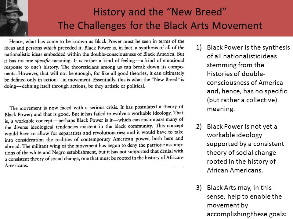 History and the New Breed The Challenges for the Black Arts Movement 1)Black Power is the synthesis of all nationalistic ideas stemming from the histories of double- consciousness of America and, hence, has no specific (but rather a collective) meaning.