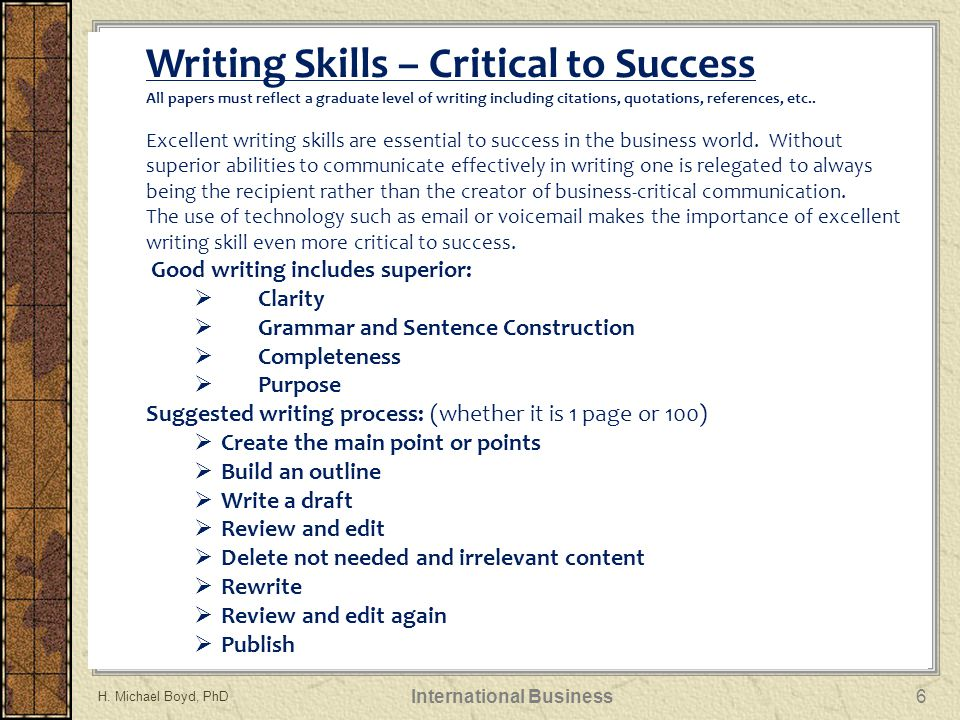 Writing Skills – Critical to Success All papers must reflect a graduate level of writing including citations, quotations, references, etc..
