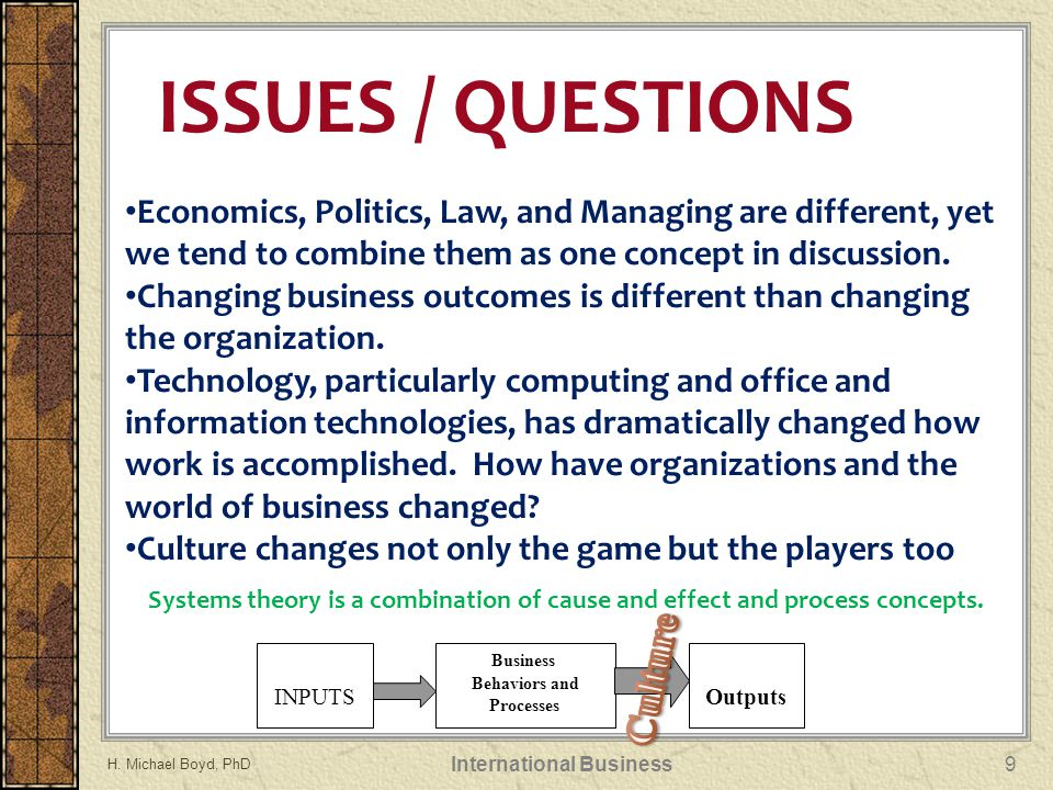 Economics, Politics, Law, and Managing are different, yet we tend to combine them as one concept in discussion.