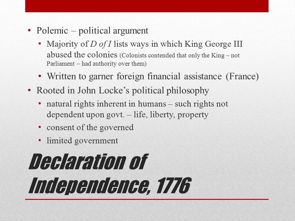 Locke's proposed limitations on gov't Governments must provide standing laws – advance notice to governed of what constitutes legal/unlawful actions Government cannot take one's property without one's consent
