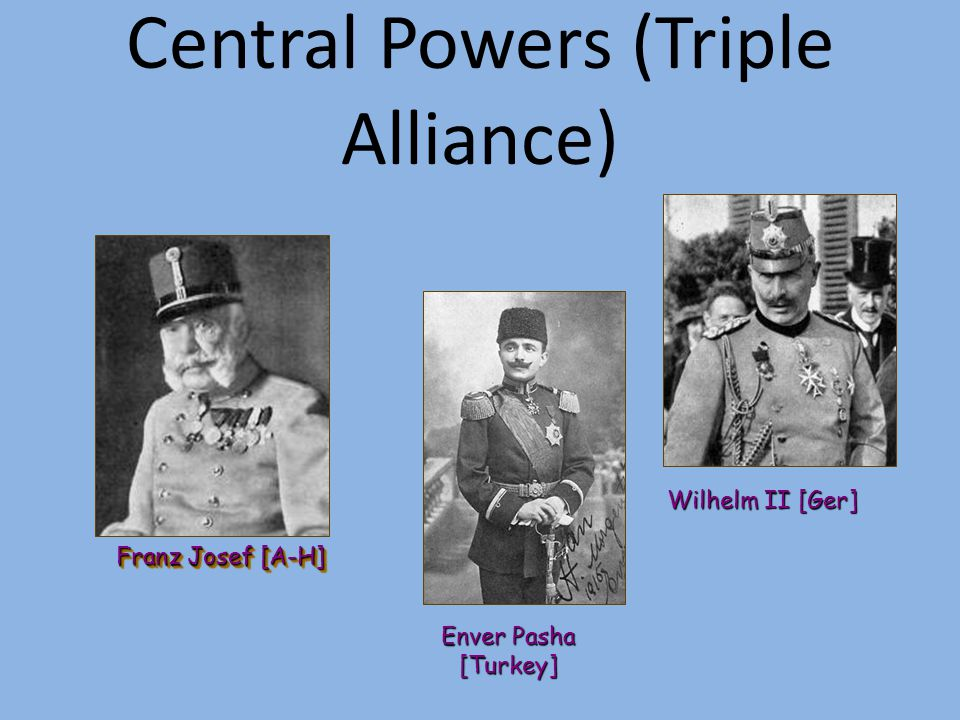 Europe divided: Triple Alliance (Central Powers) Austria-Hungary Germany Ottoman Empire Bulgaria