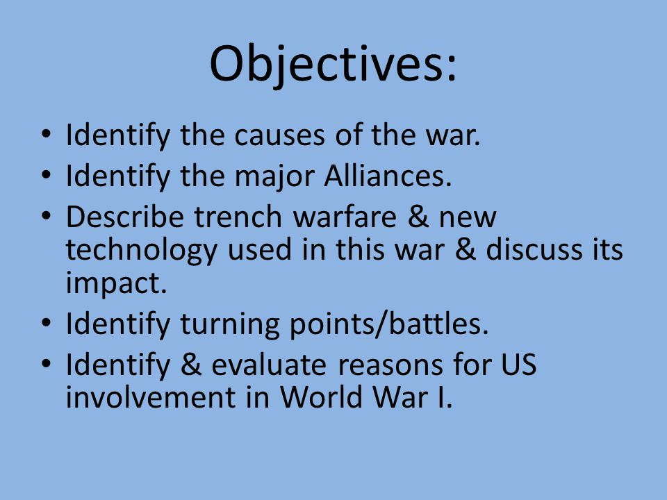World War I Chapter 18 Notes