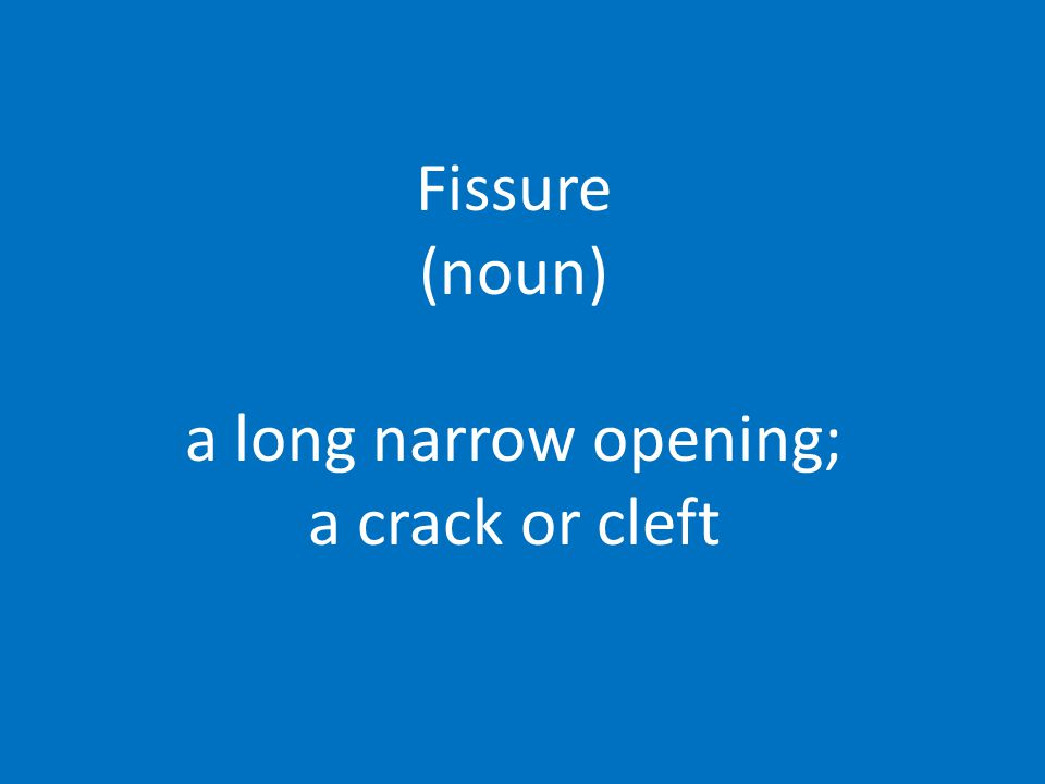 Fissure (noun) a long narrow opening; a crack or cleft