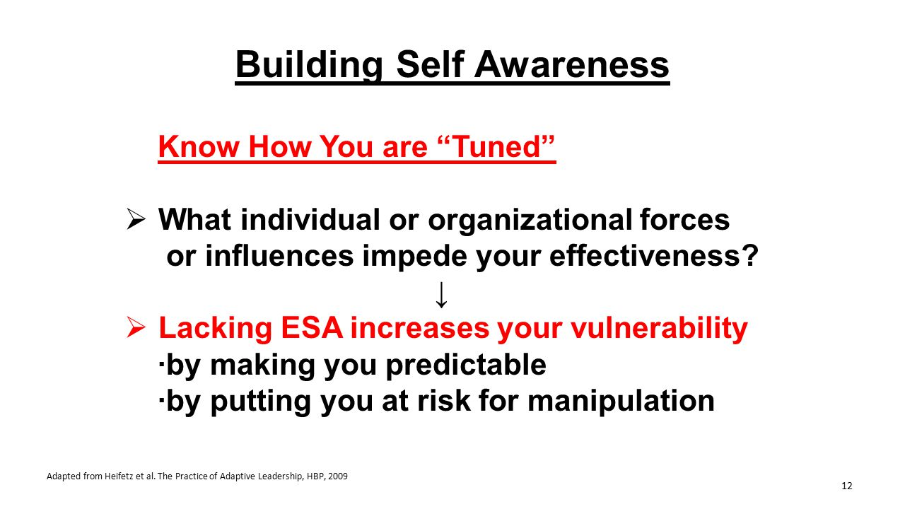 "Building Self Awareness Know How You are ""Tuned""  What individual or organizational forces or influences impede your effectiveness? ↓  Lacking ESA i"
