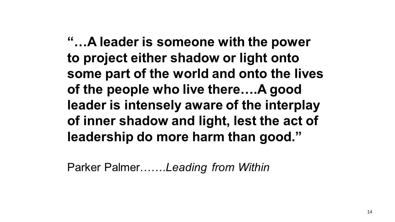 """…A leader is someone with the power to project either shadow or light onto some part of the world and onto the lives of the people who live there….A"