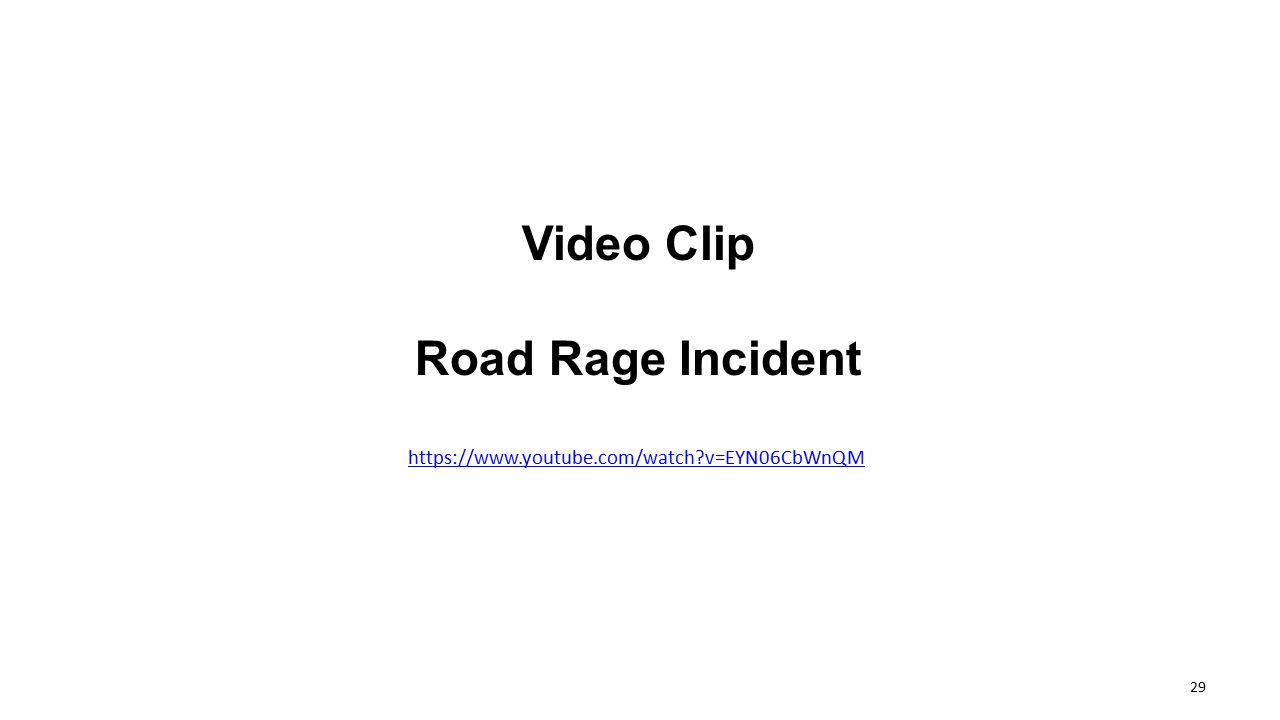 Video Clip Road Rage Incident https://www.youtube.com/watch?v=EYN06CbWnQM 29
