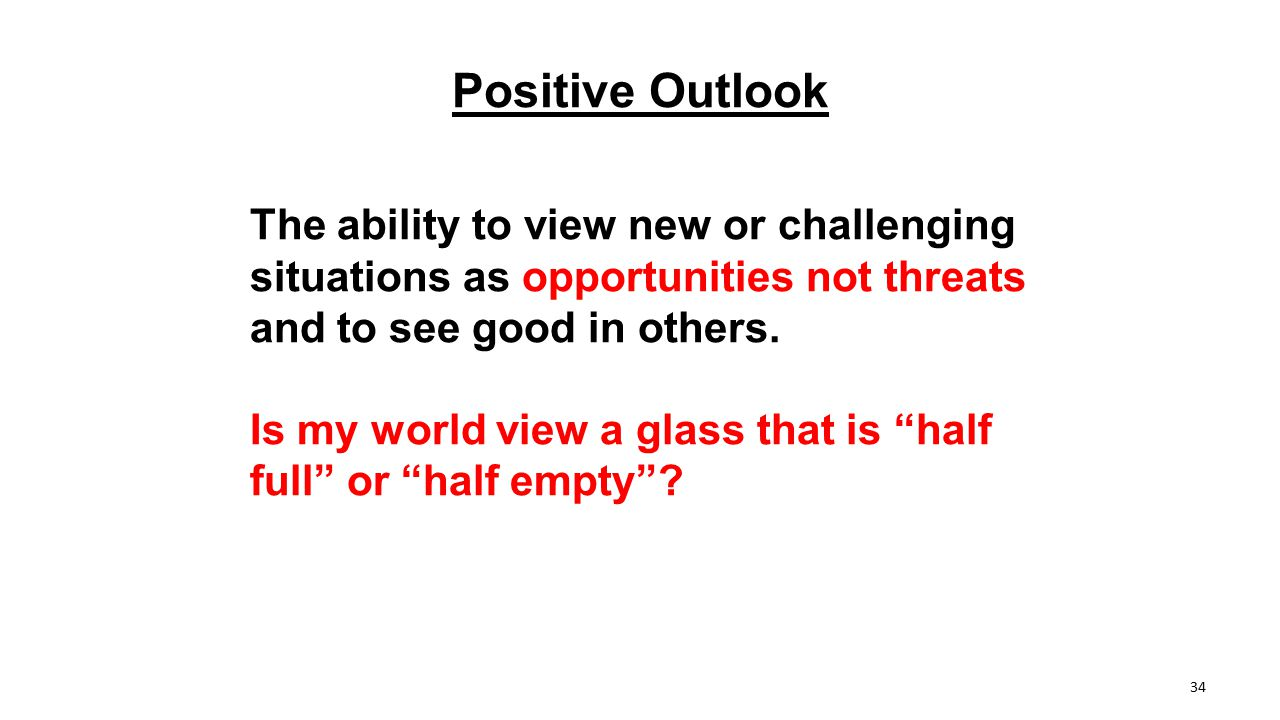 Positive Outlook The ability to view new or challenging situations as opportunities not threats and to see good in others. Is my world view a glass th