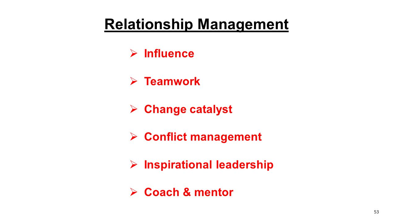 Relationship Management  Influence  Teamwork  Change catalyst  Conflict management  Inspirational leadership  Coach & mentor 53