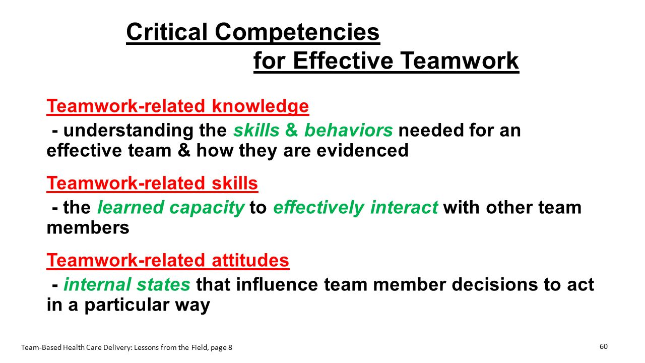 Critical Competencies for Effective Teamwork Teamwork-related knowledge - understanding the skills & behaviors needed for an effective team & how they