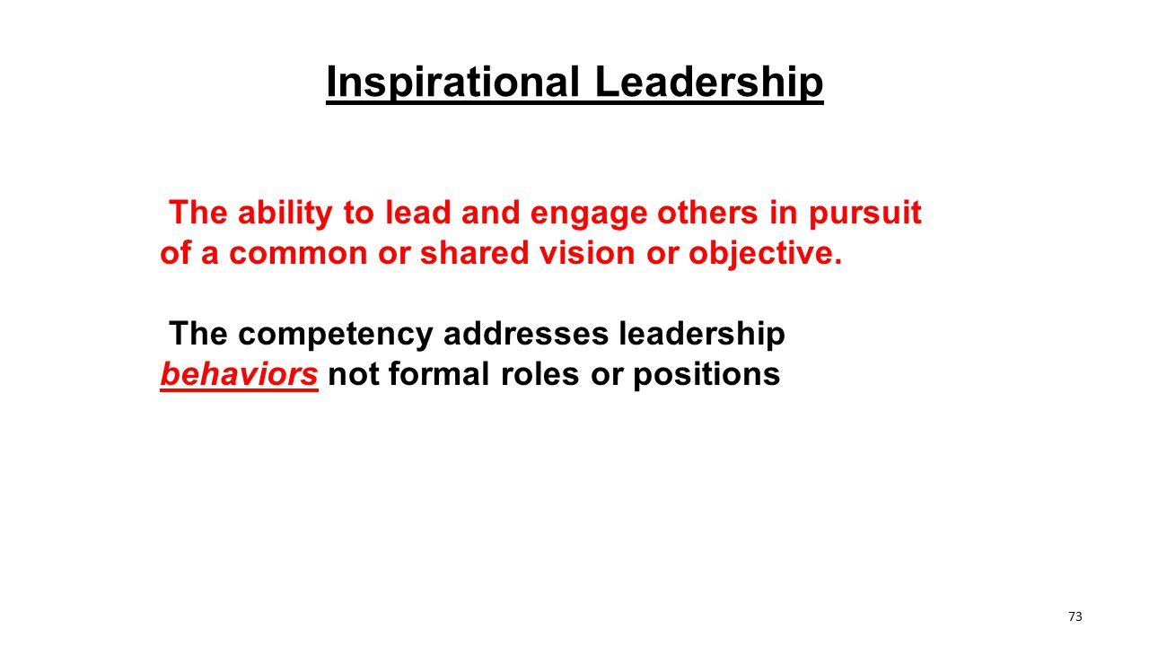 Inspirational Leadership The ability to lead and engage others in pursuit of a common or shared vision or objective. The competency addresses leadersh