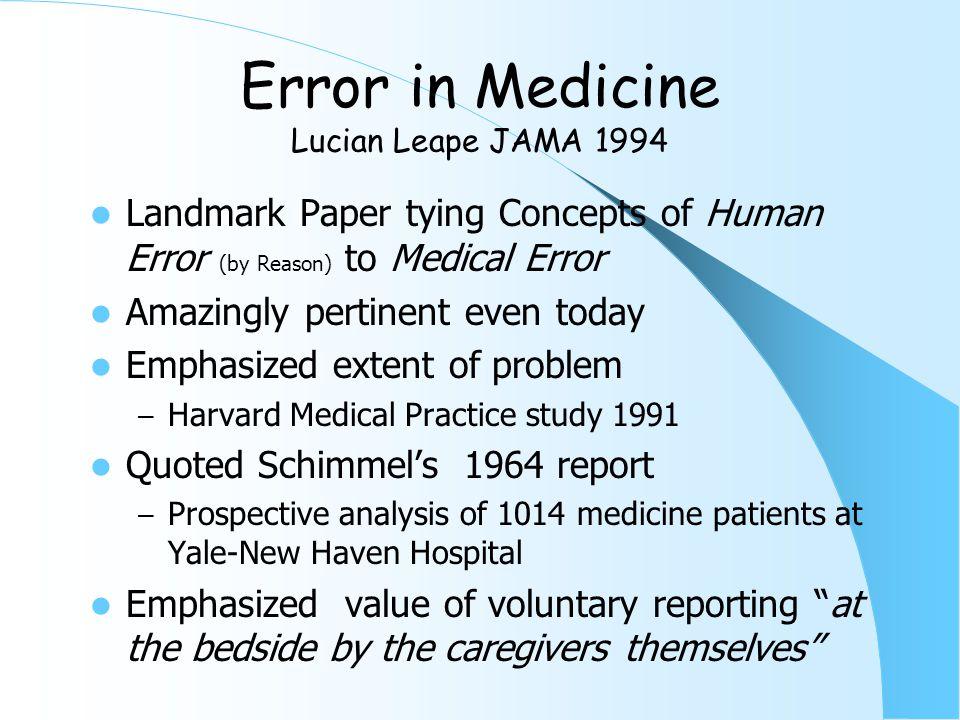 20 Years Later Error in Medicine JAMA 1994